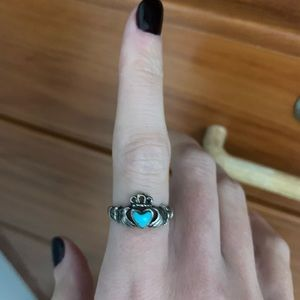 Silver and Turquoise claddagh Ring